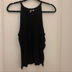 Black tank top with slit sides and high neck